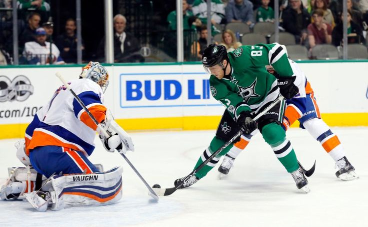 Islanders vs. Stars:  March 2, 2017  -  The Islanders beat the Dallas Stars, 5-4, on Thursday night at American Airlines Center in Dallas:  By NEWSDAY.COM  -      New York Islanders' Thomas Greiss (1) blocks a shot by Dallas Stars' Ales Hemsky (83) during the first period of an NHL hockey game, Thursday, March 2, 2017, in Dallas. (AP Photo/Tony Gutierrez)