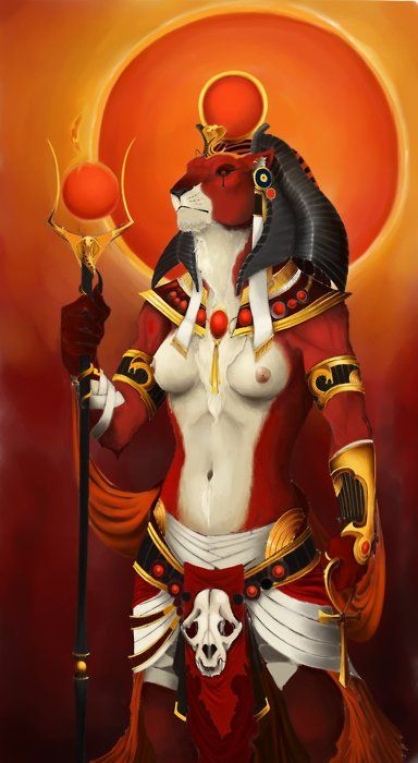 In Egyptian mythology, Sekhmet was originally the warrior goddess as well as goddess of healing for Upper Egypt. She is depicted as a lioness, the fiercest hunter known to the Egyptians. It was said that her breath formed the desert. She was seen as the protector of the pharaohs and led them in warfare.