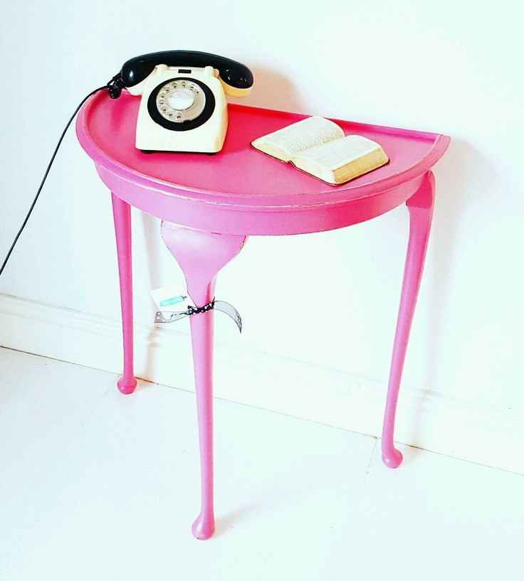 Vintage UPCYCLED half-moon DEMI LUNE PINK Console HALL demi-lune Dressing Table in Home, Furniture & DIY, Furniture, Tables | eBay