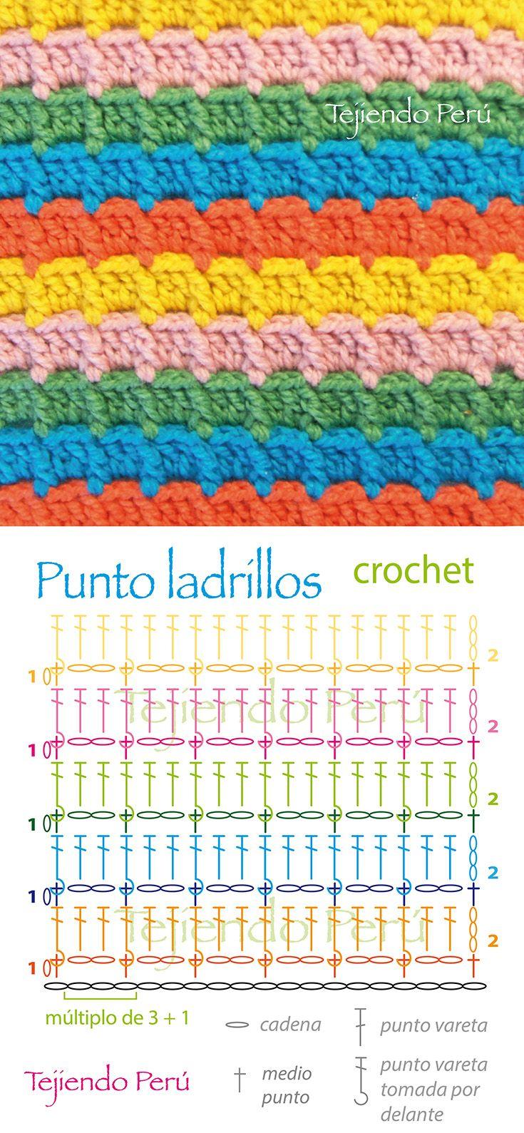 Crochet: punto ladrillos (diagrama o patrón) Pusimos el enlace al video tutorial de cómo hacer la vareta tomada por delante ༺✿ƬⱤღ  https://www.pinterest.com/teretegui/✿༻