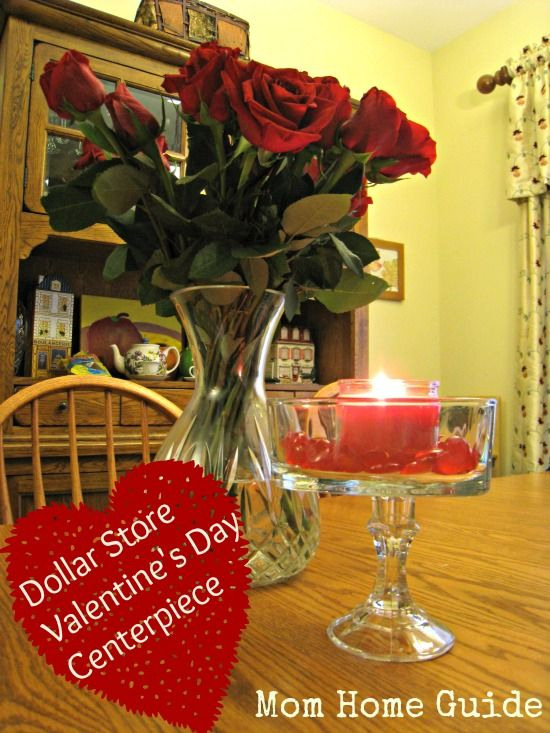Dollar Valentine S Day Centerpiece With Gl Candle Holder Heart Shaped Dish