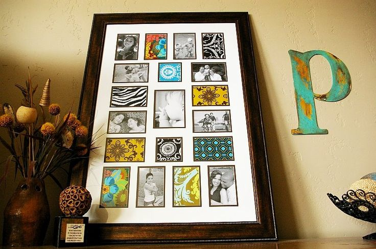 Great idea to gradually fill a multiple-photo frame.  Now I'm not going to wait until I have 40 photos to use. . . scrapbook paper, here I come.