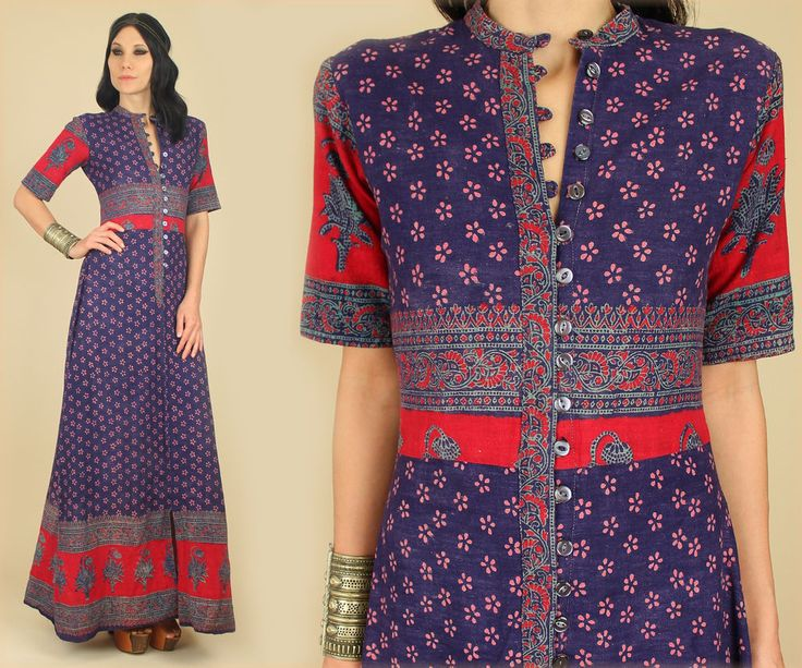 Vtg 60 s 70 s indian cotton hand block printed maxi dress india hippie
