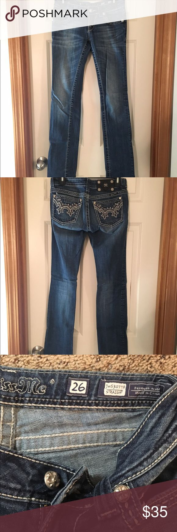 Miss Me denim straight cut jeans Miss Me denim straight cut jeans with sequined back pockets. Low waisted with light fading style. Lightly worn! Miss Me Jeans Straight Leg