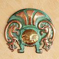 Copper and Bronze 'Moche Warrior Insignia' Inca Mask (Peru) | Overstock.com