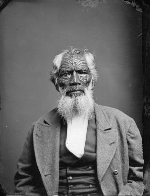 Maori man from Hawkes Bay, c. 1870s // the facial tattoos are called 'ta moko,' accented with greasepaint in this photo // from Alexander Turnbull Library