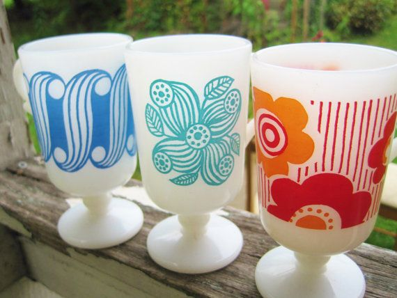 3 Rare Authentic Retro Mod Vintage 1960s Collectible Pedestal Footed Milk Glass Coffee Cups Mugs on Etsy, $28.00