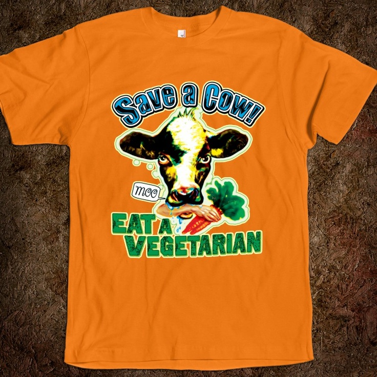 Funny Save A Cow Eat a Vegetarian shirts and Gift Items for those with a warped sense of humor. Featured is a moo cow with the detached arm of a vegetarian holding a bunch of carrots. LOL funny.