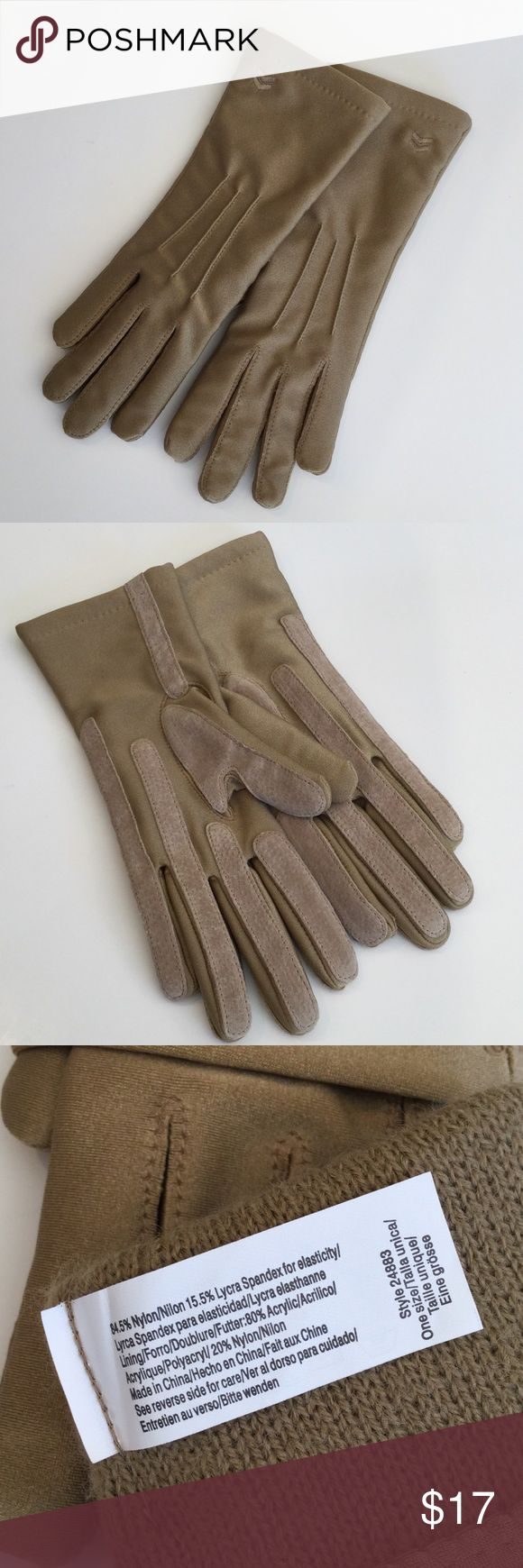 Isotoner womens leather gloves with fleece lining - Isotoner Gloves In Gold