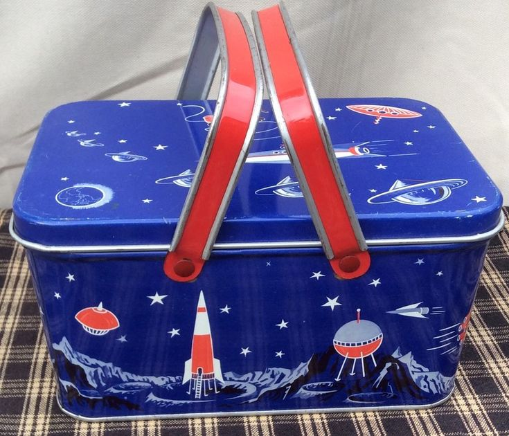 VINTAGE METAL TIN LUNCHBOX PICNIC BASKET SPACE SHIP OUTERSPACE  | eBay