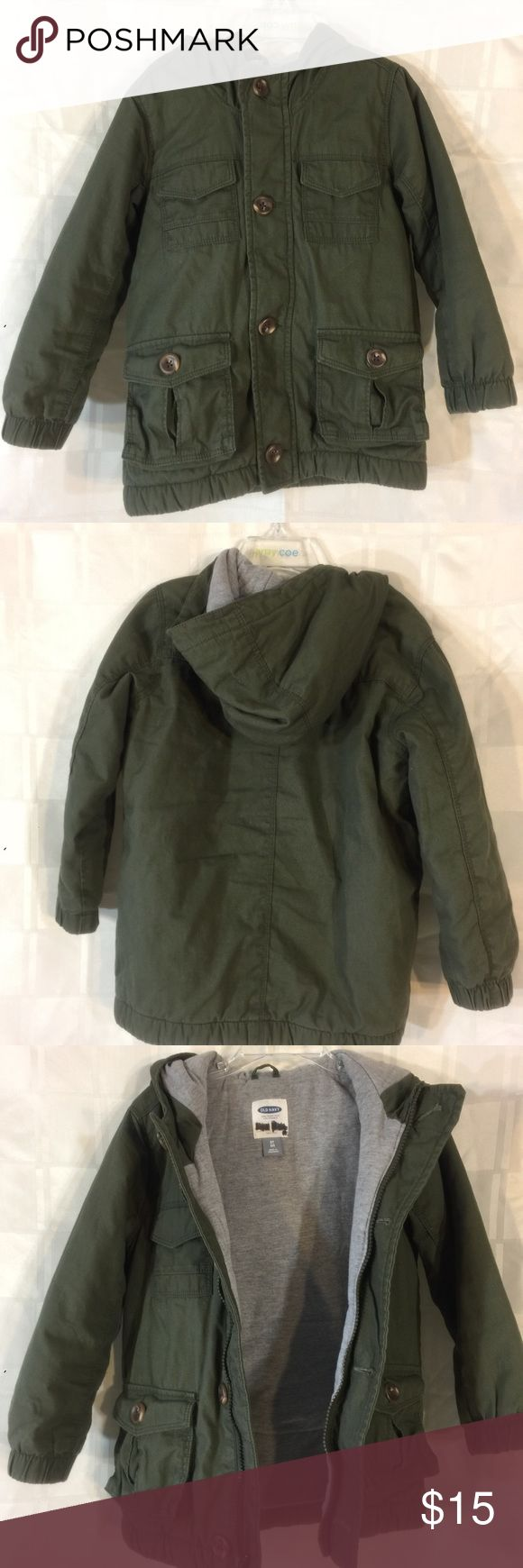 Army Greet, Jersey Cotton Lined Jacket Old Navy, name crosses out of the inside.  It's a really nice, warm jacket for spring/fall.  Very soft inside and the fabric on the outside shows no wear. Old Navy Jackets & Coats