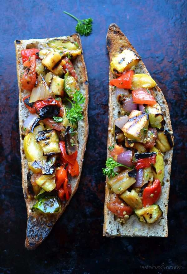 Grilled ratatouille tartine