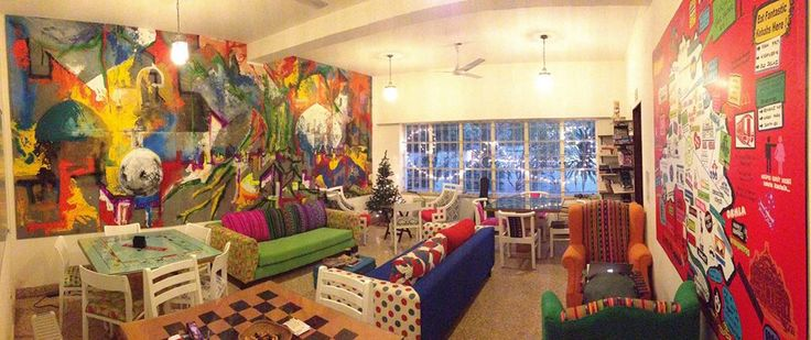 Common Room at Moustache Hostel. Backpacker Hostels in India.