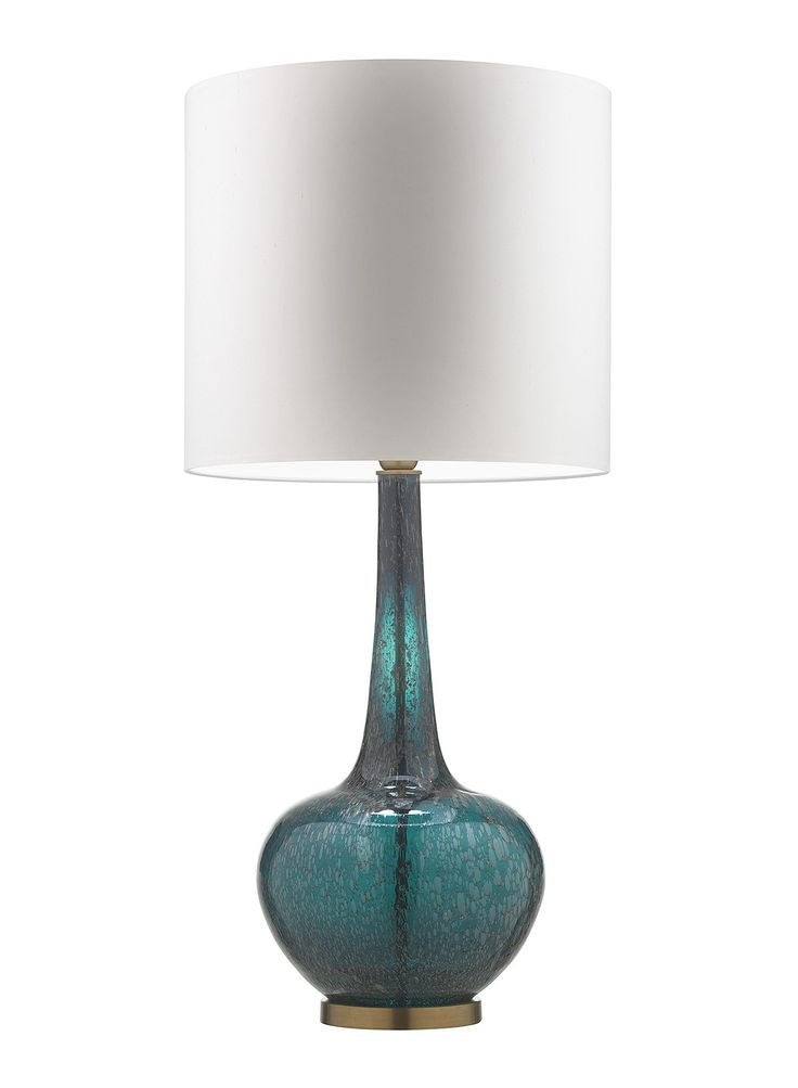"The Grace table lamps use gold frits and minerals in intense colour finishes. Stunning new colour finishes to the Grace range include 'Moire Teal' and 'Tuscan Teal'; perfectly complemented by Antique Brass detailing. Available to order from 1st October 2015 Details Base Code: G/GRAC/TTL Lampshade: 16"" Light Ivory Grace Drum Shade Lining: White PVC Shade: …"