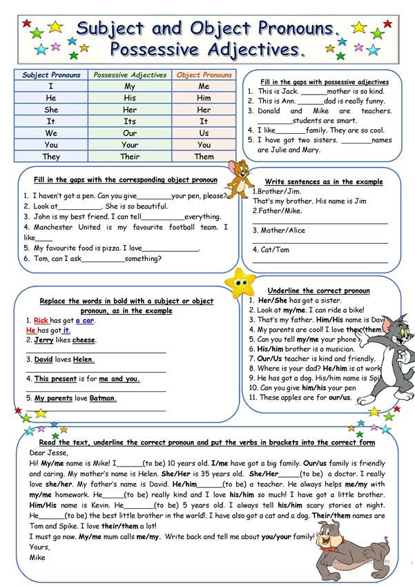 A worksheet on possesive adjectives, topic and object pronouns.There's a grammar chart on the prime…