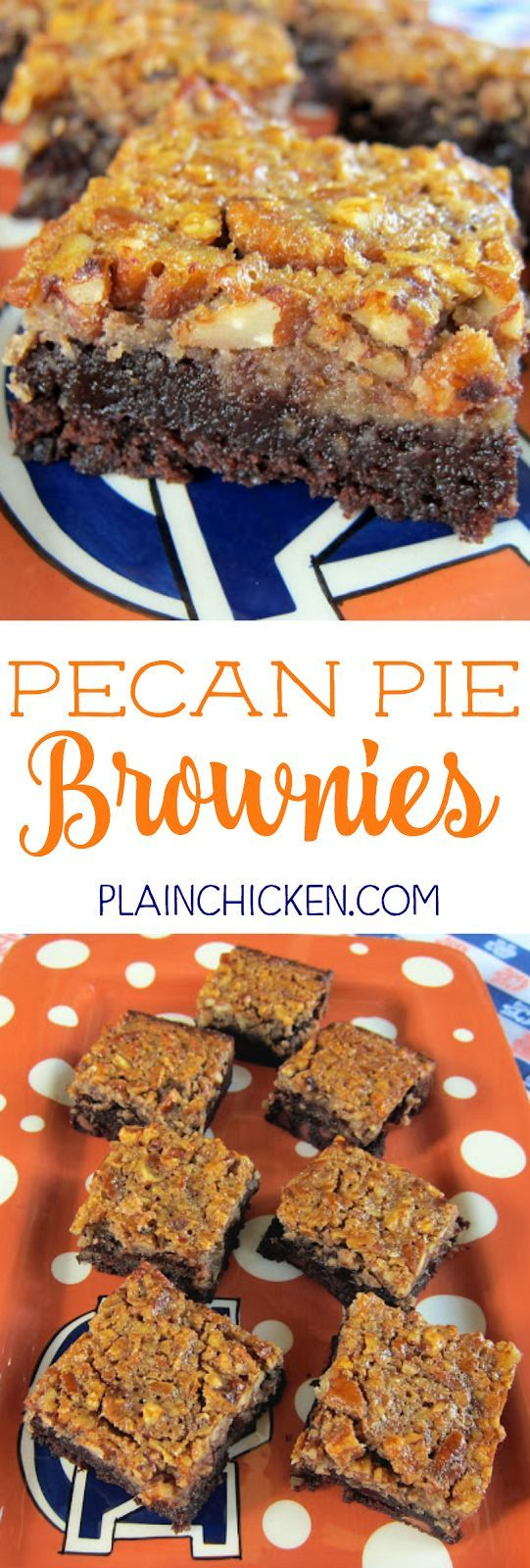 Pecan Pie Brownies - brownies topped with pecan pie filling. Brownie mix, corn syrup, eggs, vanilla, pecans. SO good! These are always the first thing to go!!