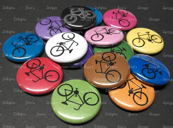 Inexpensive party favor: bike buttons