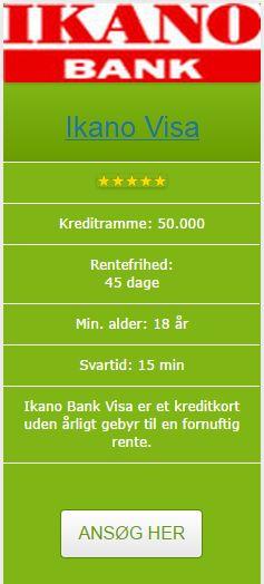 Vores Visa er et kreditkort uden årligt gebyr til en fornuftig rente. Du kan få Ikano Bank Visa med op til 50.000 kr. i kredit, og du betaler selvfølgelig kun rente af det du bruger.