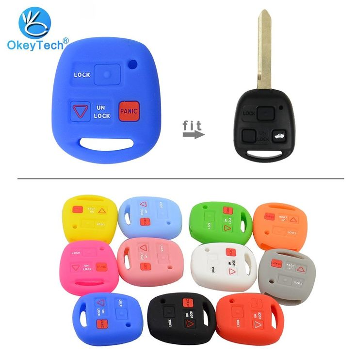 OkeyTech Silicone Car Key Cover Shell Fob Fit for TOYOTA Avensis Camry Corolla rav Remote Key Case 2+1 Button for Lexus Key Case-in Key Case for Car from Automobiles & Motorcycles