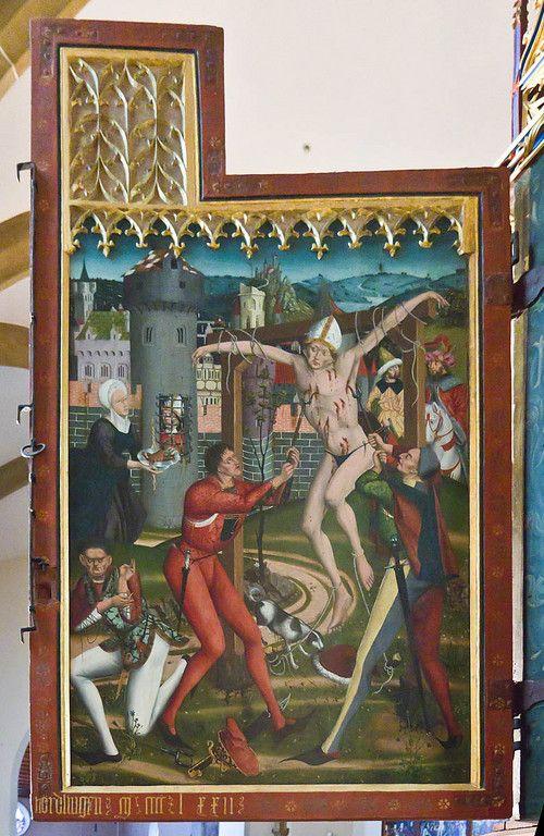 Bopfingen. St. Blasius. Hochaltar, li. Außenflügel, Blasiuslegende 1472