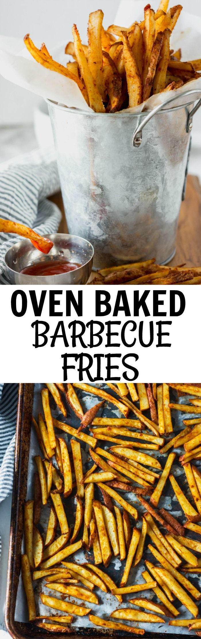 Oven Baked Barbecue Fries Easy to make with less calories than fried. #fries #bakedfries #potatoes