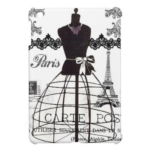 Black White Paris Fashion Mannequin iPad Mini Covers