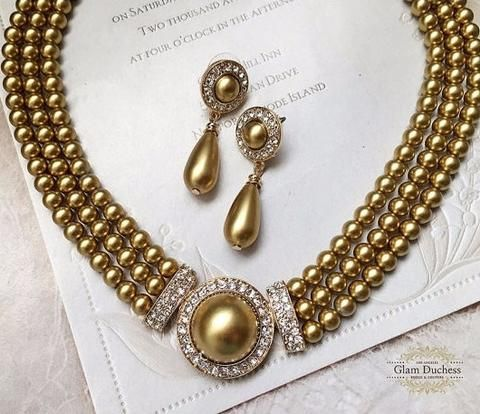 Bridal jewelry set, Bridal choker necklace earrings, Wedding choker, Gold Victorian pearl jewelry set, bridesmaid jewelry, choker necklace