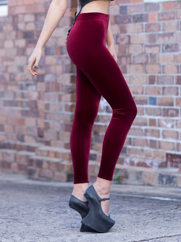 Velvet Mulled Wine High Waisted Leggings - LIMITED (WW $60AUD / US $48USD) by Black Milk Clothing