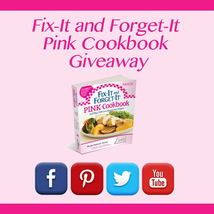 Fix-It and Forget-It Pink GiveawayCookbooks Giveaways, Breast Cancer, Forget It Pink, Forget It Book, Pink Cookbooks, Pink Giveaways, Crockpot Recipe, Fun Giveaways, Cancer Survivor