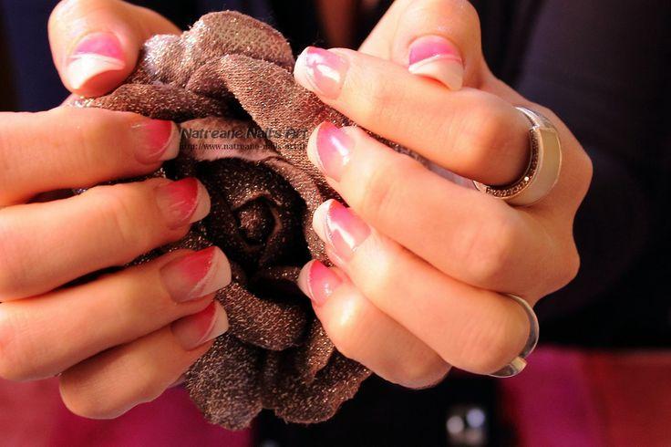 French bi couleur dégradé rose fluo