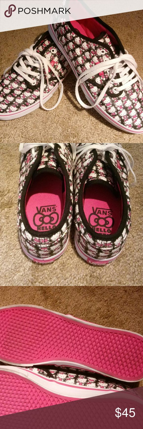 Hello Kitty Vans!! Super cute vintage style!! Mint condition. Original Vans shoelaces TOO! Vans Shoes Athletic Shoes