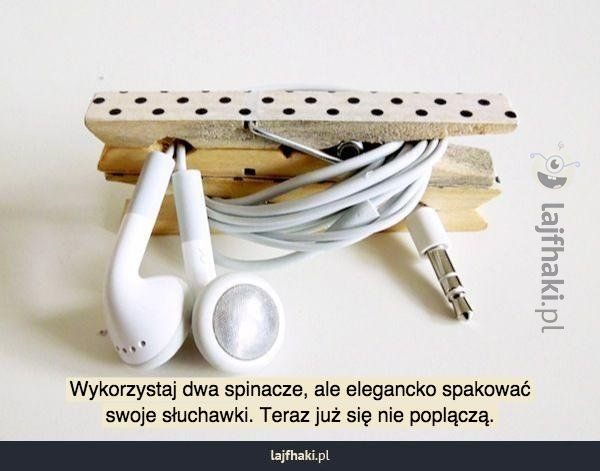 Prosty pomysł na porządek ze słuchawkami - Wykorzystaj dwa spinacze, ale elegancko spakować swoje słuchawki. Teraz już się nie poplączą.