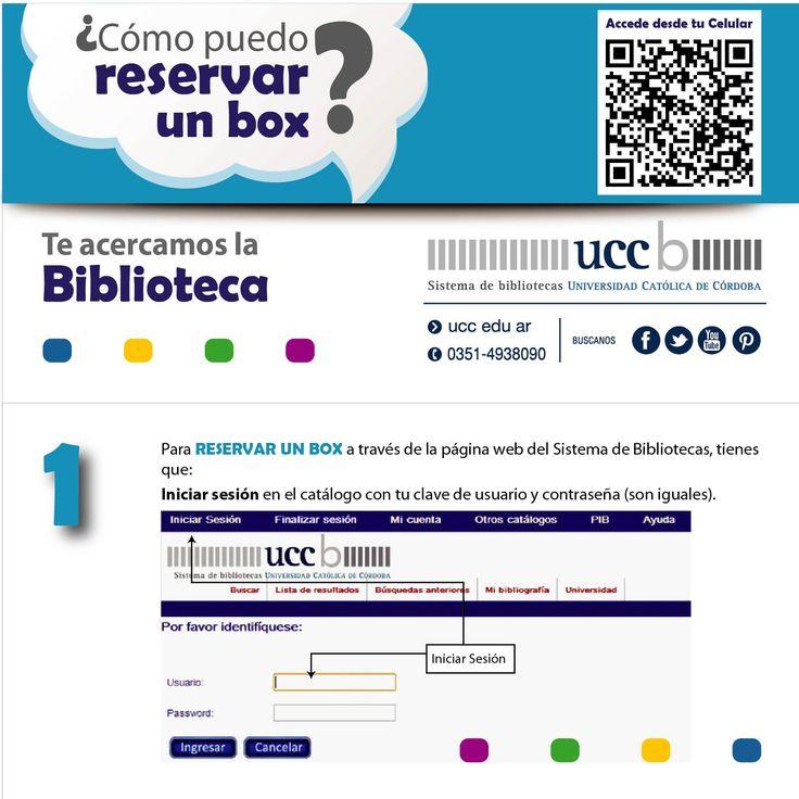 ¡NUEVO SERVICIO online! Estimados usuarios: desde este año, podrán realizar las RESERVAS DE BOX online. Aquí les mostramos como hacerlo desde el CATALOGO ONLINE del Sistema de Bibliotecas UCC: http://aleph.uccor.edu.ar/F/?func=find-b-0 #BibliotecasUCC #Servicios