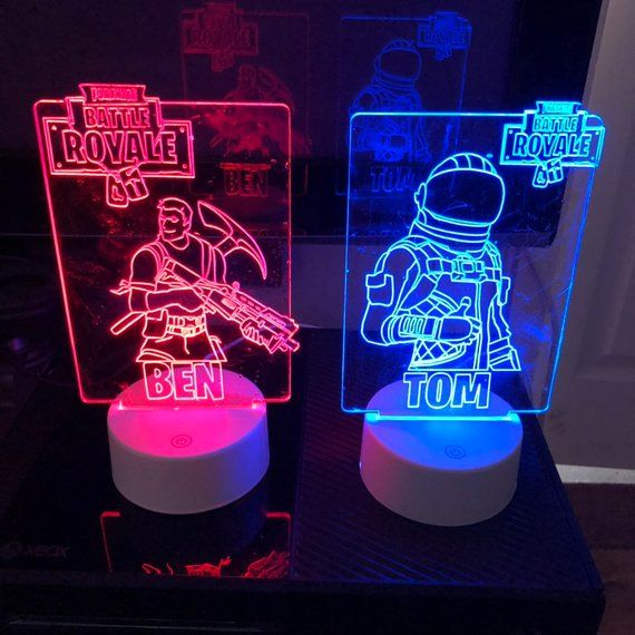 This fab looking laser cut acrylic showing characters from Fortnite, the latest …