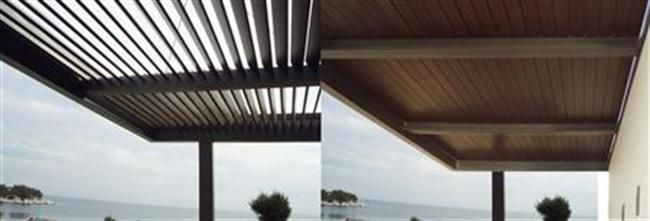 M5660 is an innovative solution of unique design, a pergola for shading outdoor and semi-open spaces, which offers both shading with natural ventilation and protection from rain with the corresponding regulation of the rotating louvers.  For further informamtion: http://www.alumil.com/en/products/special-systems/shading-/m5660/