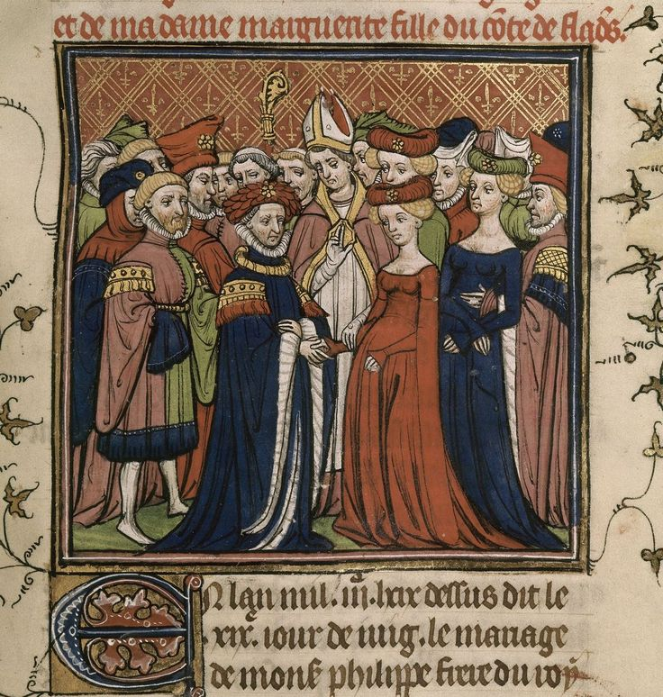 Detail of a miniature of the marriage of Philip, the Duke of Burgundy, and Margaret of Flanders from the Chroniques de France