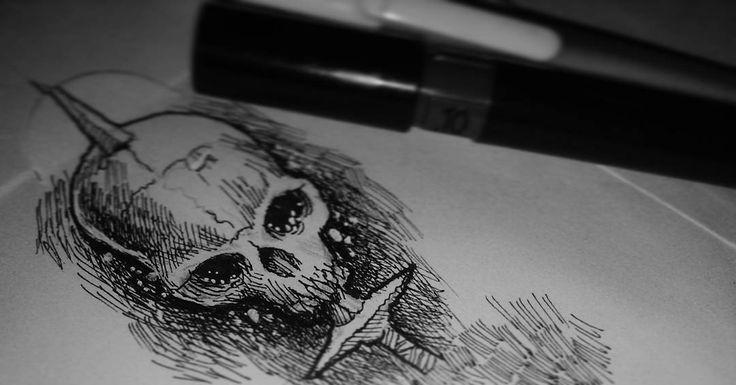 Speed doodle scratch  #doodle #scratch #rotring #darkart #skull #crosshatching