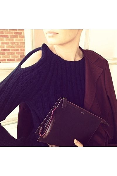 """My new jumper from Land's End Store in Paddington. Jil Sander bag, Roland Mouret jacket."""