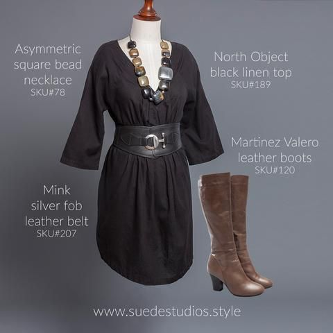 Suede Studios Style: North Object black linen top, asymmetric square bead necklace, Mink silver fob leather belt and Martinez Valero leather boots.