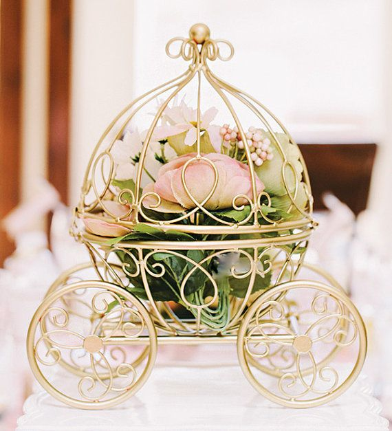 Once Upon A Time...  This is the original Inspired my Disney Carriage. There are lots of copy cats on Etsy and all though I am flattered My idea is being copied this is the only original Carriage as seen in Disney Fairytale weddings. Dont be fooled. I have 3 layers of signature paint and then it cooks on the metal.  These make the best fairytale wedding decor or even centerpieces. I used these at my own Disney Fairytale Wedding. They were perfect.  This is for the carriage only. If you would…