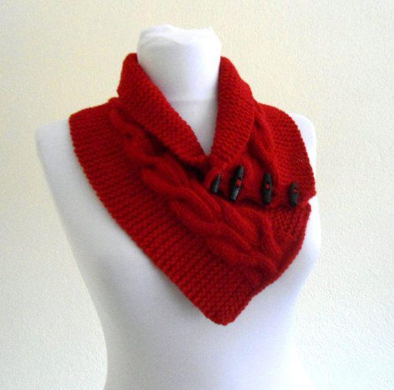 unisex rojo neckwarmers tejido a mano moda regalo por likeknitting