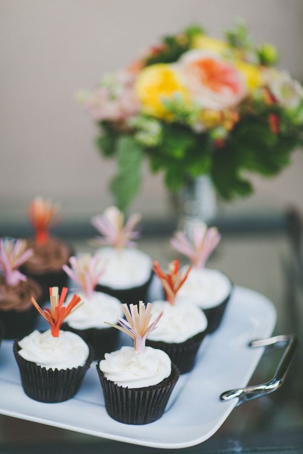 """firecracker"" cupcake toppers, photo by Two Foxes Photography http://ruffledblog.com/tropical-july-4th-styled-wedding #caketoppers #4thofjuly"