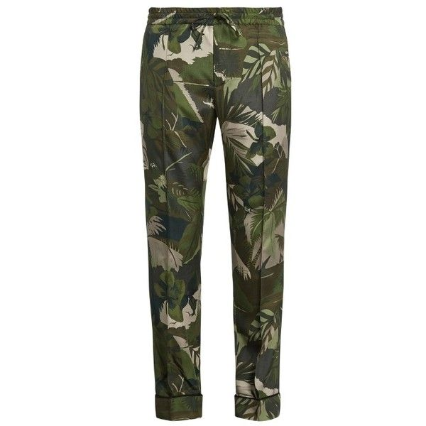 Valentino Tropical-print silk-crepe trousers (77.395 RUB) ❤ liked on Polyvore featuring men's fashion, men's clothing, men's pants, men's casual pants, mens tapered pants, mens elastic waistband pants, mens slim pants, mens stretch waist pants and mens elastic waist pants