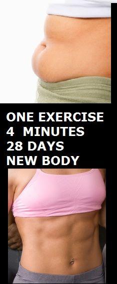 One Exercise, Four Minutes, 28 Days, New Body #Healthylife #healthlifestyle
