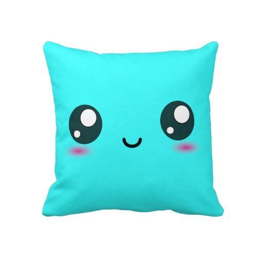 Cute Kawaii Smiley Cushion - Bright Cyan Blue Throw Pillows