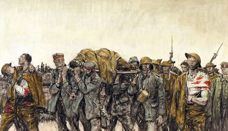 """""""Prisoners and Wounded"""" October, 1918. Harvey Dunn. """"The Art of War"""" Used as an example of war imagery by war artists during the inquiry process."""