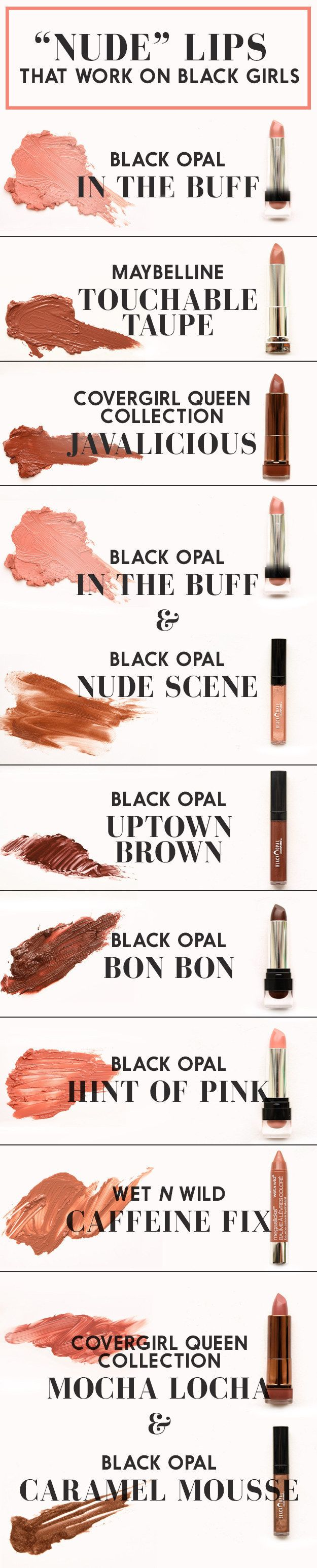 "Here's a chart of the ""nude"" lip colors that actually work on women of color: 