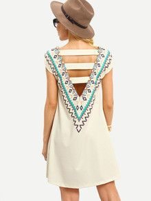 tribal print dress, open back dress, boho dresses, trendy summer dresses - Crystalline