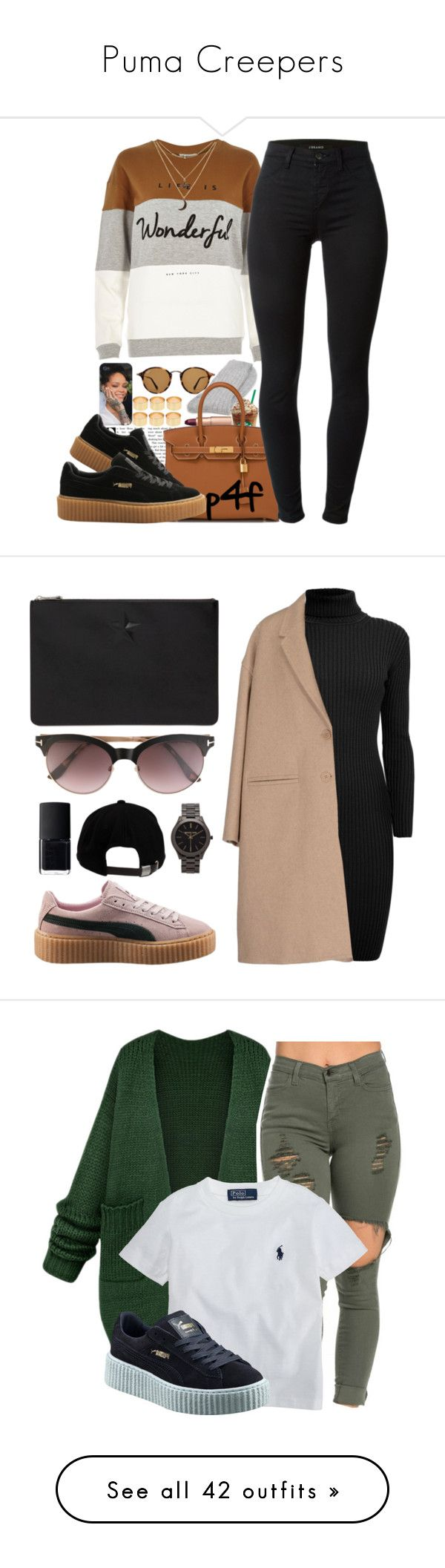 Puma Creepers by jaaaaai ❤ liked on Polyvore featuring ASOS, Ray-Ban, Charlotte Tilbury, River Island, Ted Baker, Hermès, J Brand, Charlotte Russe, Puma and Tom Ford