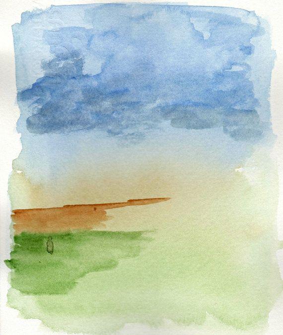 Pittura ad acquerello di un paesaggio astratto di MarMusArt
